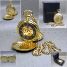 Heritage Time Mechanical Pocket Watch Gold Skeleton with Chain and Gift Box C23