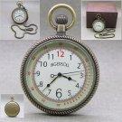 "INGERSOLL Pocket Watch Large 50MM Brass Quartz Men Gift Curve Len 14"" Chain 47A"