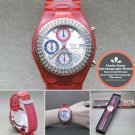 LINDA DANO Wrist Watch Japan SII Chronograph Stones Bezel Unisex Red Band WL06