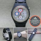 LINDA DANO Wrist Watch Japan SII Chronograph Stones Bezel Unisex Black Band