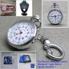 Silver Pendant Pocket Watch Brass Case Gift Set 2 Ways Necklace + Key Chain L45