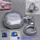 Silver Women Pendant Watch Quartz 2 Ways Gift Set - Necklace and Key Chain  L33
