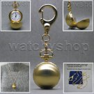 GOLD Plated Women Pendant Watch Quartz 2 Ways Necklace + Key Chain Gift Set L12