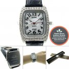 Linda Dano Silver Square Watch Stones Bezel Women Gift Black Leather Strap 19A