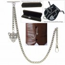 Albert Chain Pocket Watch Curb Link Chain Antique Silver Plating Fob T Bar AC13