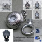 Silver Pendant Watch with Cover 27 MM Women Gift 2 Ways Necklace + Key Ring L20