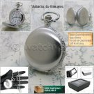 SILVER Antique Pocket Watch Men Arabic Numbers 40 MM on Chain and Gift Box P235