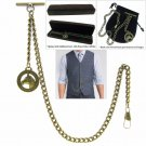 Albert Chain Pocket Watch Curb Link Chain Antique Brass Plating Fob T Bar AC03