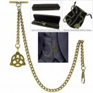 Albert Chain Pocket Watch Curb Link Chain Antique Brass Plating Fob T Bar AC08