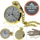 Gold Antique Men with DATE Quartz Pocket Watch Gift Brass Case + Fob Chain P29