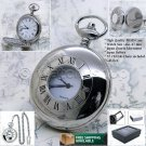Silver Antique Pocket Watch Polish Solid Brass Case 47 MM with Fob Chain Box P51