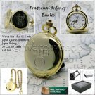 Rare Fraternal Order of Eagles Pocket Watch Gold Quartz with Chain and Box C35