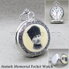 Turkey Ataturk Pocket Watch Men Silver Quartz with Chain Pouch and Gift Box C12