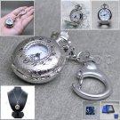Silver Women Pendant Watch Quartz Analog 2 Ways Key Chain + Necklace Gift  L16