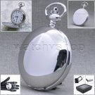 Silver Pocket Watch Large 47mm Plain Polished Brass Case Men Gift + Chain  P50