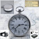 SILVER Antique Style Open Face Quartz Pocket Watch with Chain and Gift Box P179
