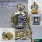 Gold Antique Japanese Battleship YAMATO Pocket Watch Quartz with Chain Box C08