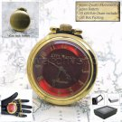 CITY WATCH Gold Pocket Watch Japan Quartz Red Arabic Nrs Dial Fob Chain P194