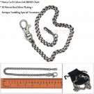 "10 Micron Silver Cuban Curb Brass Chain Lobster Clasp 14"" Men Pocket Watch Chain"
