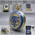 Gold US Police Badge XL Large Size 53mm Heavy Pocket Watch Brass with Chain C45B