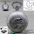 BASS Silver Antique Pocket Watch Quartz 47 MM Men Gift Chain and Gift Box P224