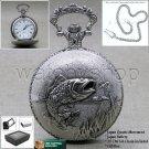 BASS Silver Antique Pocket Watch Quartz 47 MM Men Gift Chain and Gift Box P224