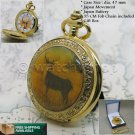 DEER 14K Gold Antique Pocket Watch Quartz Men Gift 47 MM with Chain and Box C57