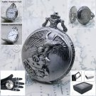 SILVER Antique Eagle Steampunk Mens Quartz Pocket Watch Fob Chain Gift Box P128