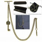 Albert Chain Pocket Watch Curb Link Chain Antique Brass Plating Fob T Bar AC06
