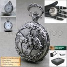 SILVER Antique HORSE Mens Fashion Quartz Pocket Watch on Chain and Gift Box P232