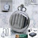 Antique Pocket Watch Silver Men Fashion Quartz Watch with Chain Gift Box P152
