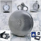"Large Pocket Watch Silver Men Quartz 14"" Fob Pocket Watch Chain included P147"