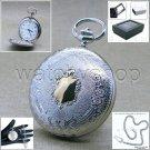 SILVER Antique Pocket Watch Quartz 42 MM Men Gift Arabic Numbers Chain Box P190B