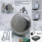 SILVER Antique Pocket Watch Quartz 42 MM Men Gift on Chain and Gift Box P174