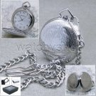DAKOTA Rare Silver Classic Men Quartz Pocket Watch with Fob Chain Gift Box P88