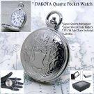 "DAKOTA Silver Antique Pocket Watch Brass Case Men Gift + 14"" Fob Link Chain P121"