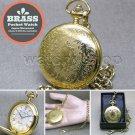 "Gold Antique Pocket Watch Brass Case Men Size Gift + 14"" Fob Link Chain P281"