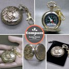 Compass Liquid Filled Pocket Watch Style Army Outdoor Camping Hiking Keychain