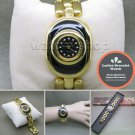 Women Gold Quartz Analog Wrist Watch Fashion Black Enamel Bracelet Steel Back 04