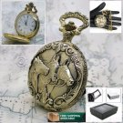 GOLD Antique HORSES Mens Fashion Quartz Pocket Watch Gift Fob Chain Box P233