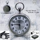 Silver Polish Antique Men Fashion Pocket Watch Small Second Chain Gift Box P66