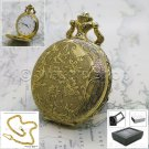 GOLD Antique Quartz Pocket Watch 47 MM Men Gift with Fob Chain and Box P231