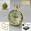 Gold Plated BRASS Antique Open Face Quartz Pocket Watch Fob Chain Gift Box P184