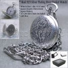 Real SILVER Plated Hunter Antique Mens Quartz Pocket Watch Fob Chain Gift Box 97