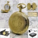 "Gold Color Pocket Watch Quartz Men Roman Numbers with 14"" Curb Link Chain P149"