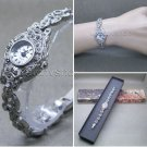 Antique Silver Marcasite Women Watch Japan Quartz Brass Case Vintage Bracelet 04