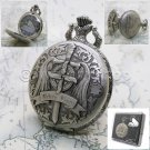 Anime Pocket Watch Sword Design Silver Antique Quartz on Chain and Gift Box C15