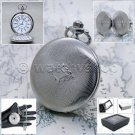 Silver Pocket Watch Quartz Men Guilloche Arabic Numbers Dial with Chain Box P131