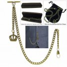 Albert Chain Pocket Watch Curb Link Chain Antique Brass Plating Fob T Bar AC05
