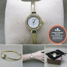 GOLD Women Quartz Analog Wrist Bangle Watch Crystals Fashion Steel Back WL15